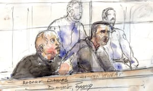 A court sketch of Robert Dawes and his co-defendant Nathan Wheat