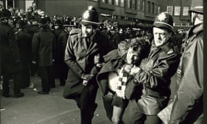 Protests outside the NUM headquarters in Sheffield during the miners' strike of 1984.
