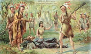 Pocahontas Saves John Smith. A commorative postcard from the 1907 Jamestown Exposition shows an idealised view of Pocahontas.