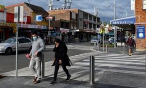 Shoppers wear face masks in Merrylands, in Sydney's west