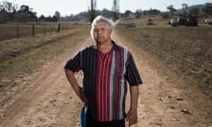 Dinawan Dyirribang, a direct descendant of Wuradyuri warrior and law man Windradyne. He stands on the road leading to Windradynes grave in Bathurst, NSW.