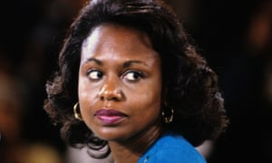 Anita Hill testifies after accusing Judge Clarence Thomas of sexual harassment, 1991.