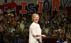 Hillary Clinton at her primary night victory rally in Brooklyn, where she declared victory.
