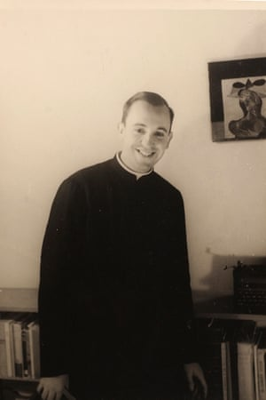 Argentine seminarian Jorge Mario Bergoglio smiles for a portrait at the El Salvador school in 1966 where he taught literature and psychology in Buenos Aires, Argentina.