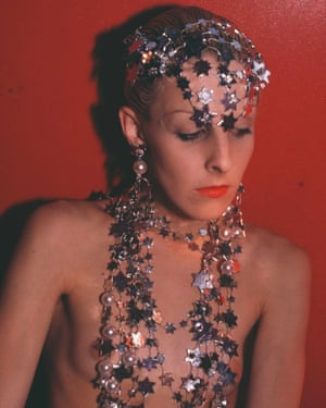 Nan Goldin Greer modeling jewlery, NYC, 1985