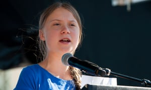 Greta Thunberg speaks at a Los Angeles climate rally