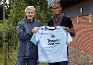 22 August 2008: Manchester City manager Mark Hughes signs Kompany for an undisclosed fee from Hamburg.