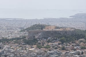 Looking out from Lycabettus Hill in Athens, September 2020