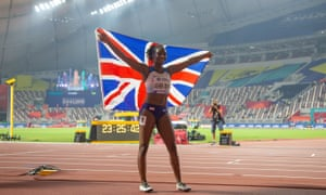 Dina Asher-Smith celebrated her lap of honour in front of empty seats at the world championships in Doha