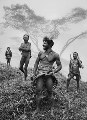 Men of the Yali people wearing koteka, or penis gourd. Papua New Guinea, 2010