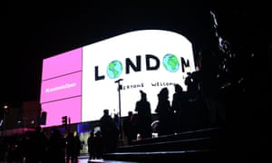 A projection by the Mayor of London's office at Piccadilly Circus