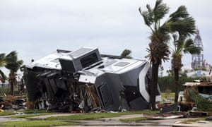 Mobile homes are destroyed at an RV park after Hurricane Harvey landed in the Coast Bend area.