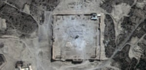 This UN satellite image reveals the extent of the damage caused by Isis at the site of the Temple of Bel. Unesco has described the group's destruction of historical sites as 'war crimes'.