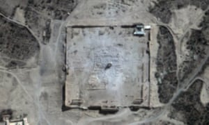 Satellite images show that only rubble remains at the site of the Temple of Bel in Syria's ancient city of Palmyra.
