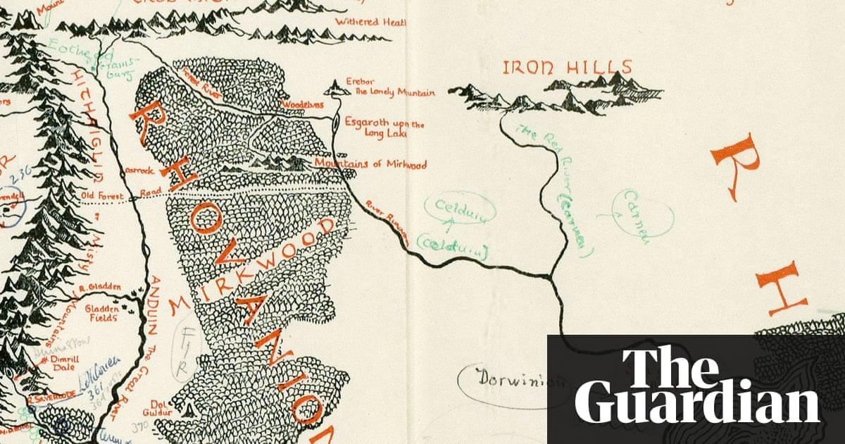 Tolkiens annotated map of middle earth discovered inside copy of tolkiens annotated map of middle earth discovered inside copy of lord of the rings books the guardian gumiabroncs Image collections