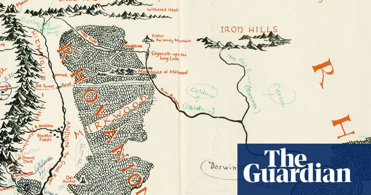 Tolkiens annotated map of middle earth discovered inside copy of tolkiens annotated map of middle earth discovered inside copy of lord of the rings books the guardian ccuart Choice Image