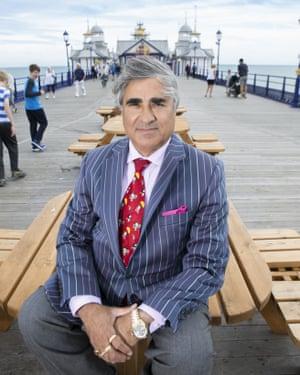 Sheikh Abid Gulzar on Eastbourne pier, which he also owns.