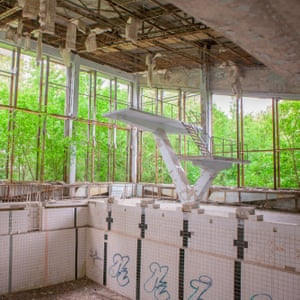 An abandoned swimming pool in Pripyat.