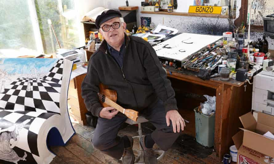Artist and illustrator Ralph Steadman in his studio at home in Maidstone, Kent.