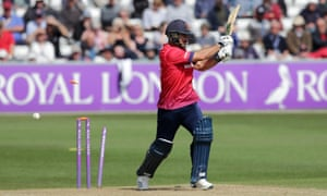 Ryan ten Doeschate of Essex is bowled out by Sussex's David Wiese during Tuesday's Royal London One Day Cup match at Chelmsford.