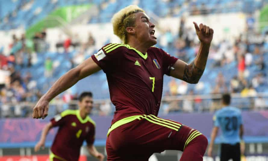 There are high hopes at Watford for Adalberto Peñaranda, here celebrating a goal for Venezuela at the recent Under-20 World Cup.