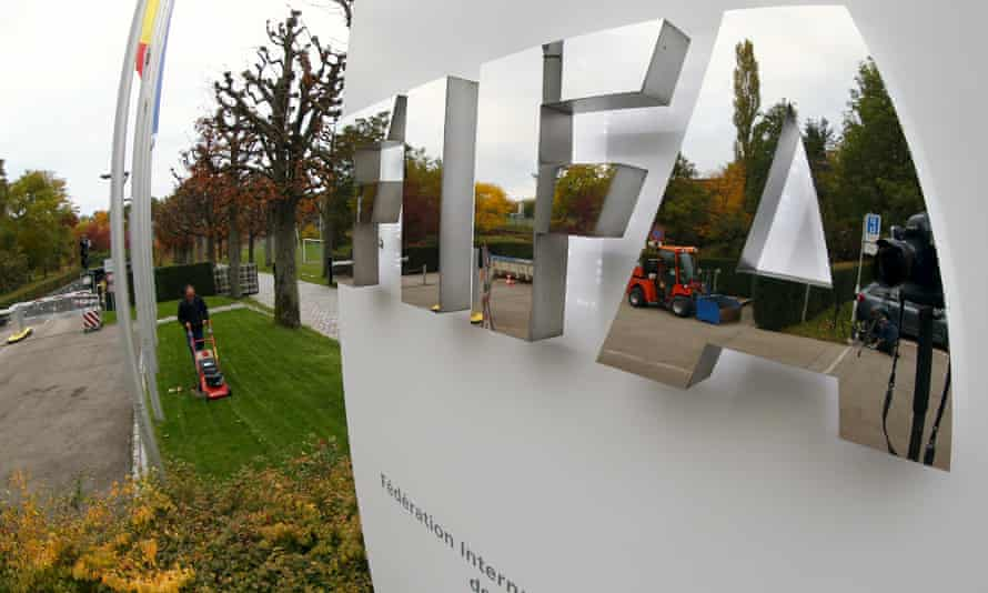 The Fifa logo is seen outside their headquarters in Zurich.
