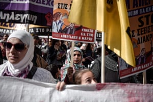 Migrant women march in central Athens, Greece