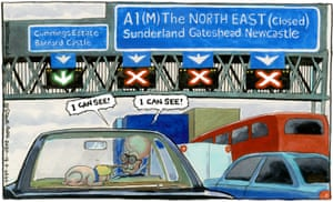 Steve Bell cartoon 18/9/20: Cummings drives to north-east with Boris dog in back of car: 'I can see'
