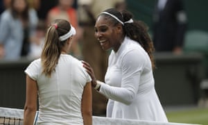 Serena Williams after beating Viktoriya Tomova in the second round at Wimbledon – the American reached the final following her return to the Tour after childbirth.