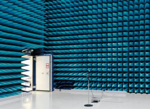 An Anechoic Chamber in Noordwijk, The Netherlands. The room is designed to completely absorb reflections of sound or electromagnetic waves