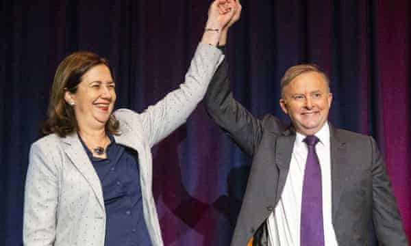 Annastacia Palaszczuk (left) and the federal Labor leader, Anthony Albanese, at last year's state Labor conference
