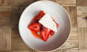 'Creamy and a little grassy, as though it were an edible form of lawn': strawberries, meringue and avocado purée.