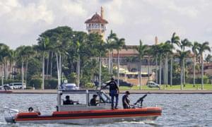 A US Coast Guard patrol boat passes Donald Trump's Mar-a-Lago estate in Palm Beach, Florida, on 22 November 2018.