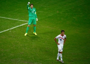 Tim Krul celebrates after saving Bryan Ruiz's penalty in a shootout at the 2014 World Cup.