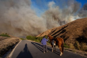 A man evacuates horses as the Easy Fire approaches on October 30, 2019 near Simi Valley, California.