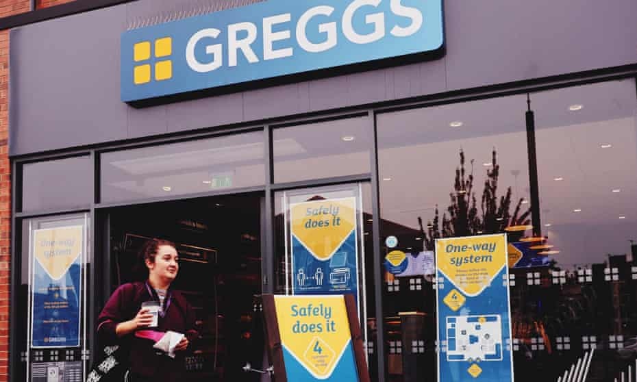 Photo issued by Greggs of their new-look stores, with floor markings, protective clothes for staff and screens at counters to protect against coronavirus spreading