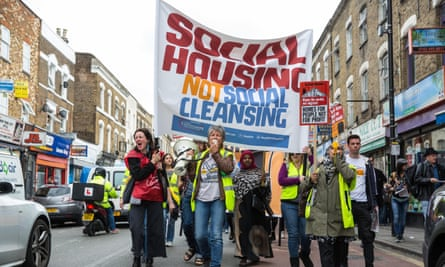 Campaigners for improved social housing provision marching in London last year.