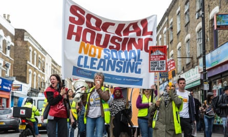 Campaigners march in protest against the transfer by London local authorities of council estates to private developers on 23 September 2017