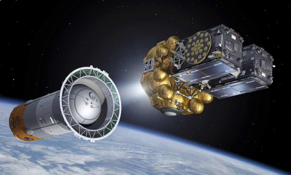 Artist's view of the satellites Galileo 5 and 6 being deployed in orbit.