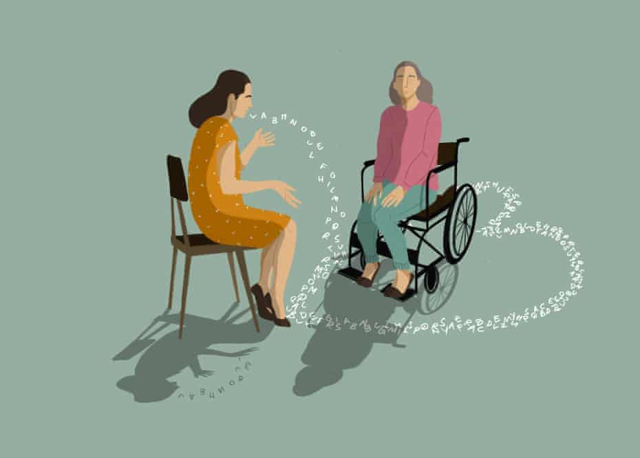 Illustration of a woman talking to an older woman in a wheelchair, and the words coming out of her mouth encircle the chair in a heart shape