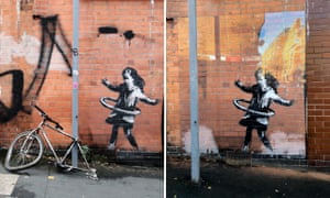 The Banksy mural before and after the bike disappeared.