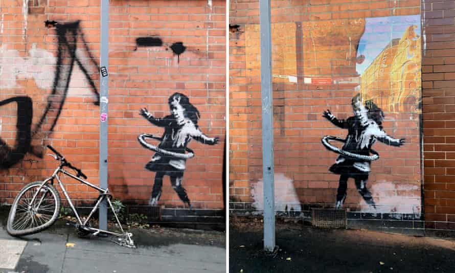The work, as it appeared in October, originally featured a broken bike but that has now vanished.