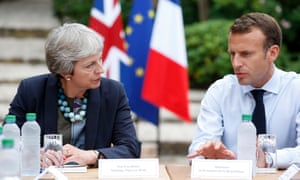 Theresa May with the French president, Emmanuel Macron, last week.