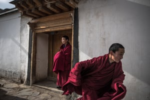 Monks from Labrang monastery in Xiahe county