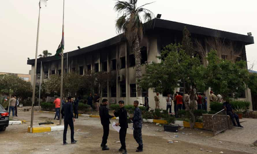 Burnt-out electoral commission headquarters