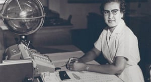 Nasa research mathematician Katherine Johnsonat her desk at the Langley Research Center in 1966.