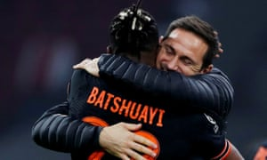 Frank Lampard embraces Michy Batshuayi after Chelsea's 1-0 win away at Ajax