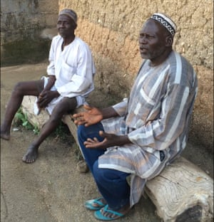 Musa Saidu Hong (left) and Muhammadu Dadi Hong describing events when Boko Haram attacked the town of Hong.