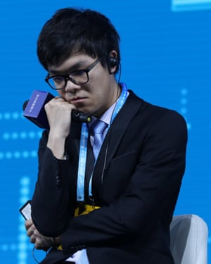 Ke Jie looks glum after his defeat.