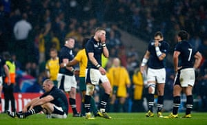 Scotland players distraught at the final whistle. So close...